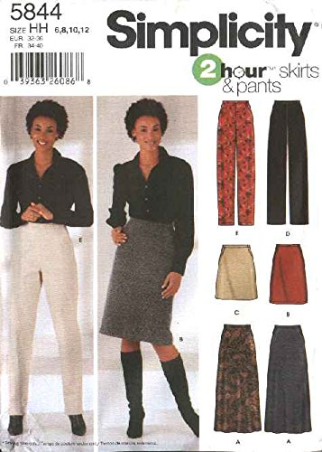 Simplicity 5844 Sewing Pattern Misses Skirt in Three Lengths and Slim and Straight Leg Pants Size 14 - 22