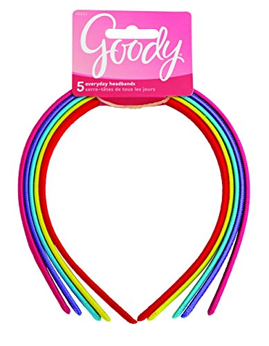 Goody Girls Classics Fabric Headband, 5 Count (Girls Headband)