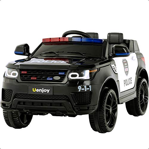Great Deal! Uenjoy 12V Kids Police Ride On SUV Battery Operated Electric Cars w/2.4G Remote Control, LED Siren Flashing Light, Music&Horn Intercom, Bumper Guard, Openable Doors, AUX, USB Port, Bluetooth, Black