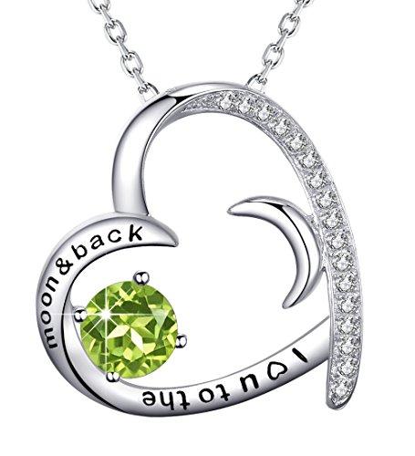 Love Heart Half Moon Necklace August Birthstone Green Peridot Jewelry for Women Anniversary Birthday Gifts 4 Her Lady Girlfriend