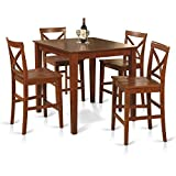 East West Furniture PUBS5-BRN-W 5-Piece Counter Height Dining Table Set, Brown For Sale