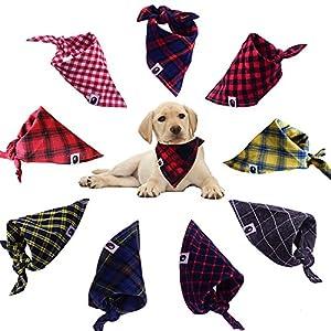 8pcs/pack Classic Pet Dog Bandanas Washable Triangle Plaid Adjustable Dog Scarf Bow Tiess