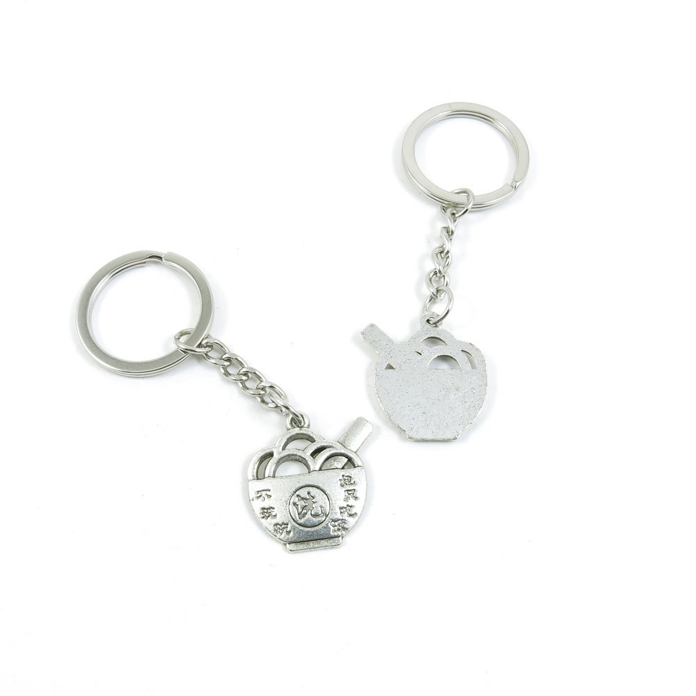 100 Pieces Keychain Door Car Key Chain Tags Keyring Ring Chain Keychain Supplies Antique Silver Tone Wholesale Bulk Lots E0KT7 Rice Bowl Only Wash Not Eat