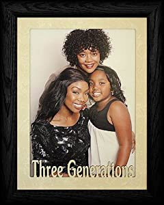 5x7 jumbo three generations portrait black solid oak picture frame laser cream marble mat