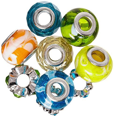 Darice Mix and Mingle Glass Lined Metal Beads, Summer Mix