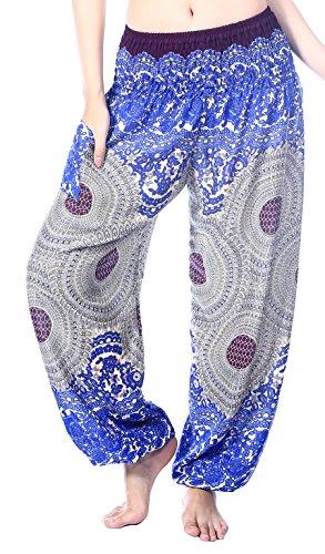 Boho Vib Women's Rayon Print Smocked Waist Boho Harem Yoga Pants (Small/Medium, Rose 3 Dark Blue)