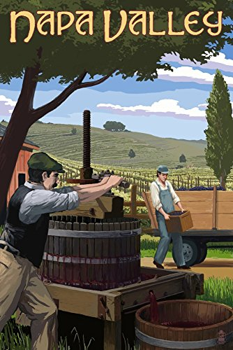 Napa Valley California Wine Grape Crushing Travel Poster Art Print