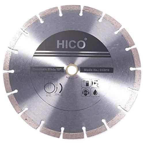 HICO 10 Inch Diamond Blade Concrete Grinding Stone Brick Ceramic Tiles Dry Wet Cutting Segmented General Purpose Premium, Fits 5/8