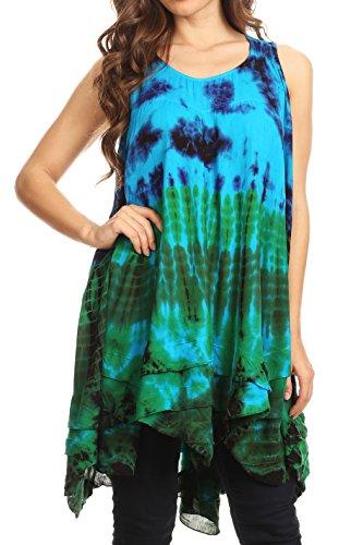 (Sakkas 171476 - Priya Sleeveless Tie Dye Handkerchief Hem Tunic with Smocked Racerback - Turquoise - OS)