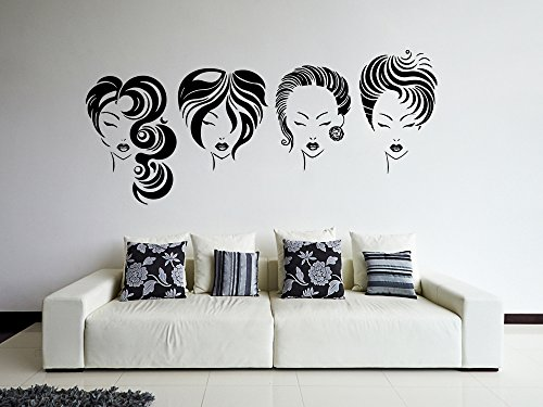 ik869 Wall Decal Sticker Hair Salon Girl Hairstyle Barber Scissors Styling Comb (Best Hairstyle Of The Year)
