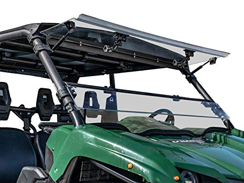 SuperATV Heavy Duty Scratch Resistant 3-IN-1 Flip Windshield for Yamaha Viking/Viking VI (2014+) - Hard Coated for Long Life and Extreme Durability - Easy to - Moose Atv Parts