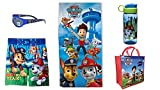 Paw Patrol Toddler Boys 5 Piece Bundle Swim Trunks Towel Sunglasses BPA Free Water Bottle + Tote Bag