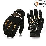 Vgo 3Pairs High Dexterity Medium Duty Mechanic Glove,Rigger Glove(Anti-vibration,Anti-abrasion,Touchscreen,Size L, Black, SL8851)