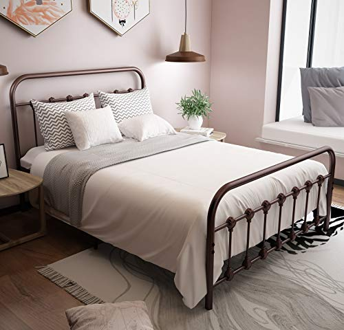 URODECOR Metal Bed Frame with Headboard and Footboard Mattress Foundation The Country Style Iron Platform Bed, Antique Bronze,Full Size (Full, Antique Brown) (Bed Frame For Antique Headboard And Footboard)