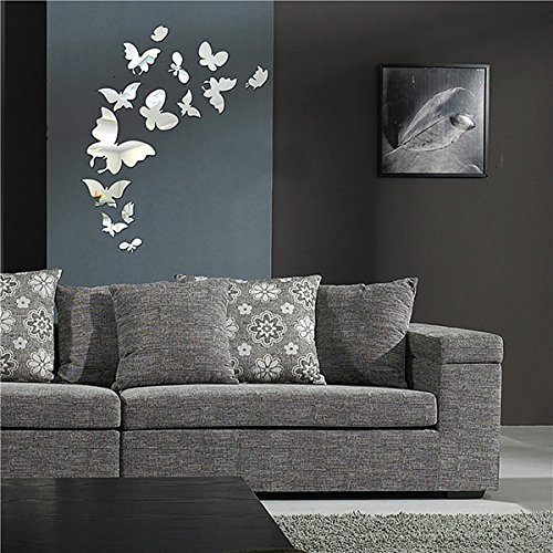 Mirror Wall Decor, Home Inspira Butterfly Mirror Wall Decals Removable DIY 3D Mirrors Wall Stickers Acrylic Art Home Decorative For Living Room Kids Bedroom Gift 14pcs (Living Mirrors Decorative Room)