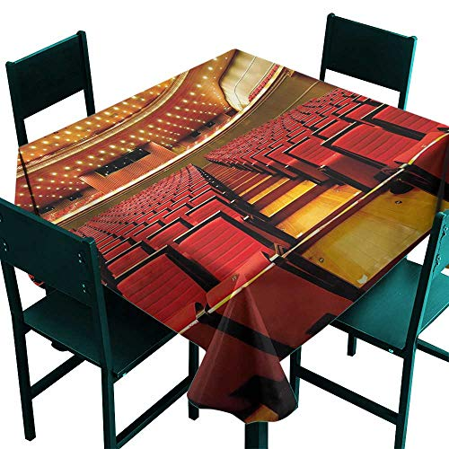 All of better Musical Theatre Waterproof Table Cloth China National Grand Theater Hall Chairs Auditorium Eastern Imagery Red Pale Brown Tablecloth 4 Seater W 54
