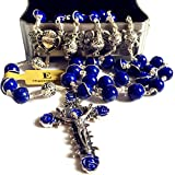 elegantmedical Wire Wrapped Handmade Rosary UNDOUBTED Lapis Lazuli Beads Sterling Silve Necklace Cross Gift Box