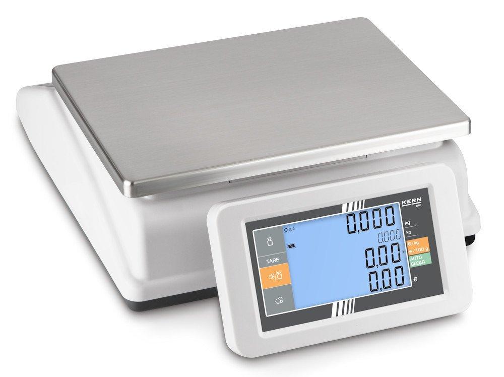 Balanza comercial [Kern RFE 15K3M] Balanza de porciones compacta con 2 pantallas XXL - peso, precio básico y de venta y TARA de una ojeada, Campo de pesaje ...