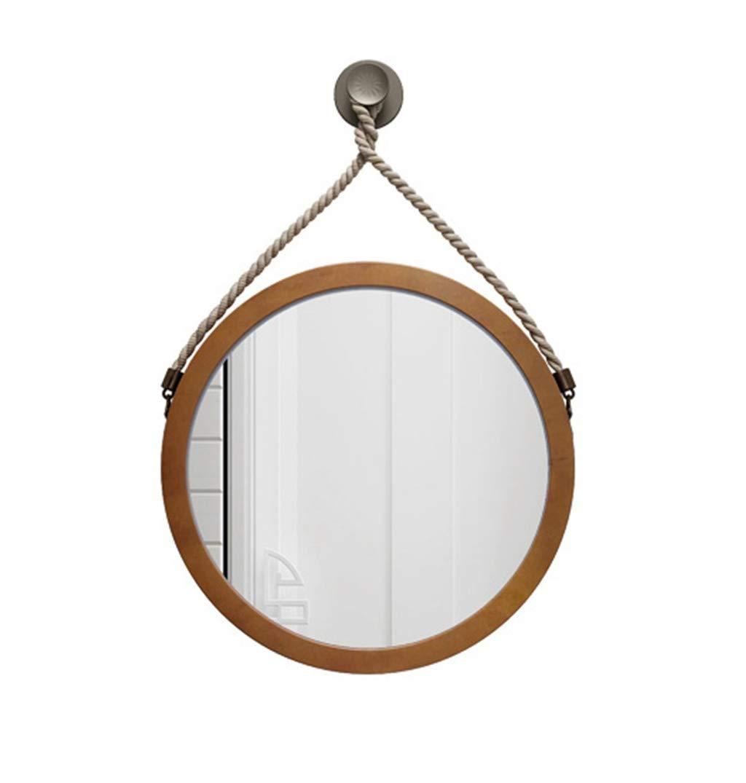 現代のラウンドウォールミラー麻ロープ木製フレームメイクぶら下げミラー家の装飾入り口チャンネル浴室リビングルーム研究 (サイズ さいず : 直径60センチメートル) 直径60センチメートル  B07QTZLW5B