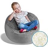 BeanBob Bean Bag Chair (Steel Grey), 2.5ft - Bedroom Sitting Sack for Kids w/Super Soft Foam Filling