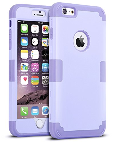 iPhone 6S Plus Case, iPhone 6 Plus Case, BENTOBEN Drop Protection Shockproof 3 in 1 Hybrid Hard PC Covers Soft Silicone Bumper Full Body Protective Case for iPhone 6 Plus / 6S Plus (5.5 Inch), Purple
