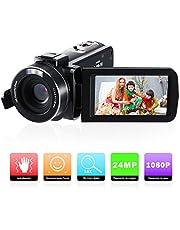 Cámara de Video,Videocámara Full HD 1080P Vlogging Cámara compacta 16X Digital Zoom para Youtube como WebCámara,Pantalla de 270 Pulgadas de rotación TFT de 3.0 Pulgadas