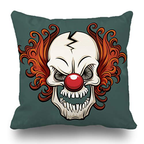 Batmerry Halloween/Thanksgiving Decorative Pillow Covers 18 x 18 inch,Evil Scary Halloween Joker Mask Creepy Face Nose Skull Character Throw Pillows Covers Sofa Cushion Cover -