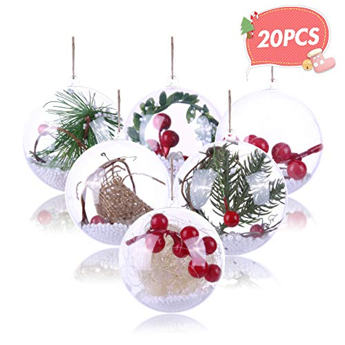 Koogel 20 Pcs 3Inch Clear Ornaments Balls, DIY Ornament Ball Christmas Transparent Ball Baubles Craft Transparent Ball Gifts for Wedding Party Decor (Ball Christmas Ornaments Clear Shatterproof)