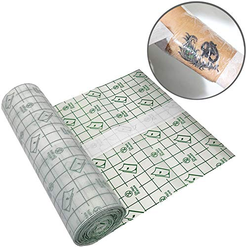 Tattoo Aftercare Adhesive Bandage/Tattoo Aftercare Skin Protective Antibacterial Waterproof Clear Film Bandage Roll 【6 inch Wide x 5.5 Yard Long】