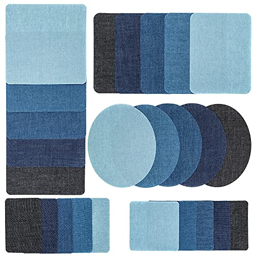 J.CARP 26 Pieces Iron on Patches, Iron on Denim Patches for Clothing Repair, Iron on or Sew on Knee/Jeans/Clothing