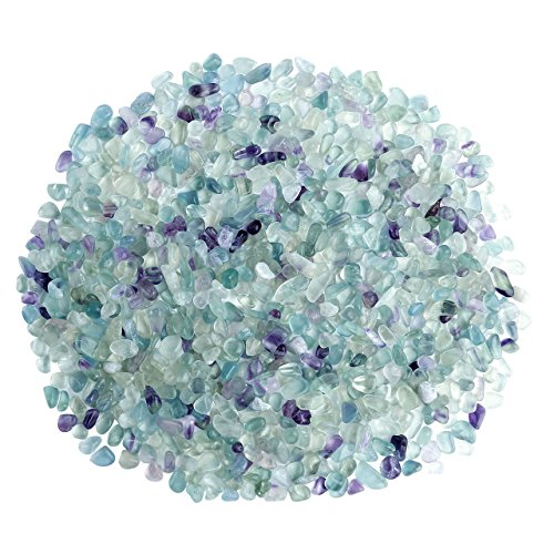 Top Plaza Natural Fluorite Tumbled Chips Crushed Stones Reiki Healing Quartz Crystals Irregular Shaped Gemstones 0.45lb