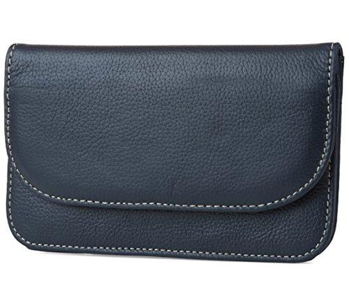 Mundi Womens Slim Flap Envelope Clutch RFID Blocking Wallet With Safe Keeper Technology (Navy) by Mundi