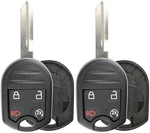 KeylessOption Keyless Entry Remote Uncut Blank Ignition Key Blade Fob Shell Case Cover Buttons for F-150 F-250 (Pack of 2)