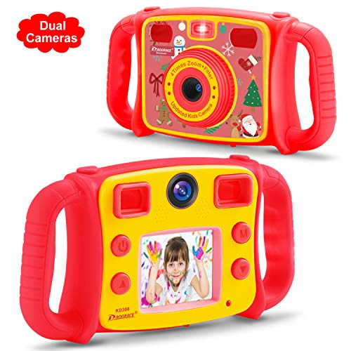 Prograce Kids Camera Dual Camera Selfie Digital Video Camera Camcorder for Boys Girls with 4X Digital Zoom, FlashLight and Funny Game(Christmas Edition)