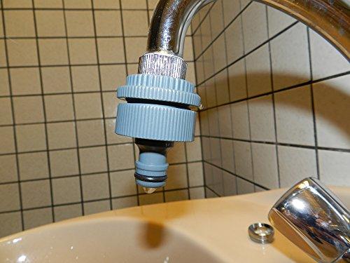 Adapter 5-fach für Indoor Wasserhähne mit M 22x1 Metall-Feingewinde, M 24x1 Metall-Feingewinde + 1 Zoll, 3/4 Zoll und 1…
