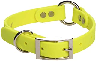 product image for Mendota Pet Durasoft Imitation Leather Collar - Center Ring Dog Collar - Made in The USA - Waterproof, Odor Resistant - Yellow, 3/4 in x 14 in