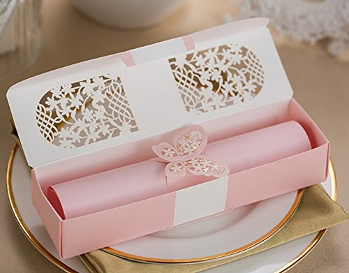 - 100sets Laser cutting Pink Box packed Wedding Invitation cards Pink Scroll Birthday Invitations Card with Butterfly knot Style customized Inner sheet XQ1605-P