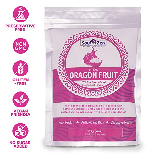 (Sou Zen Pitaya Dragon Fruit Powder 4oz (113g) Freeze Dried | All Natural, Magenta Superfood | Promotes Heart and Digestive Health | No Preservatives and Organic | Premium Quality)