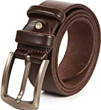 Heavy Duty 10 oz Full Grain Men Leather Belt - 100% Thick Solid Cow Leather. Durable and strong. (XL-128cm>42-46'waist, Brown. 1.5')