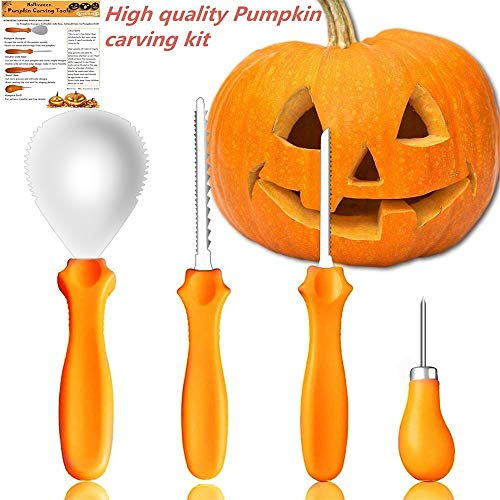 EXEEO Pumpkin Carving Kit,4 Professional Stainless Steel Pumpkin Carving Tools for Halloween Party Decorations (Limited Edition)