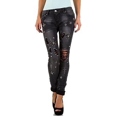 0da378821cdf Schuhcity24 Damen Jeans Hose Jeanshose Damenjeans Used Look Strass Skinny  Röhre Röhrenjeans Bluejeans Grau 42