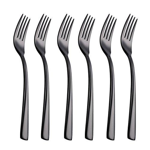 Onlycooker 6 Piece Black Dinner Fork Set 7.7-inch Stainless Steel Service for 6 Salad Dessert Forks Silverware Sets Flatware Cutlery Utensils Dinnerware Mirror Polished Dishwasher Safe
