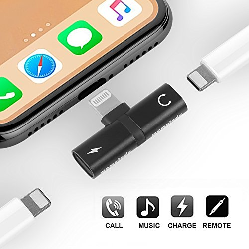 iPhone 7 8 X Adapter & Splitter,Wemelody Dual Lightning Headphone Audio & Charge Adapter Accessories for iPhone 7 / 7 Plus, iPhone 8 / 8 Plus, iPhone X – Black