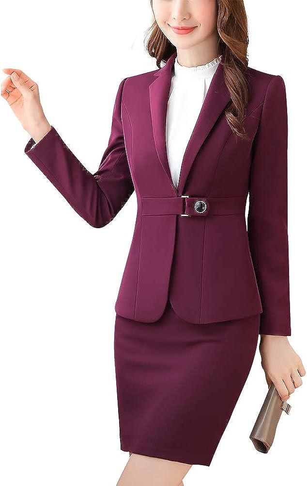Gonna. Giacca LISUEYNE Completo da Donna Elegante in Due Pezzi per Ufficio e Lavoro Pantaloni Set Slim Fit