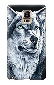 S0123 Grim White Wolf Case Cover For Samsung Galaxy Note 4 hjbrhga1544