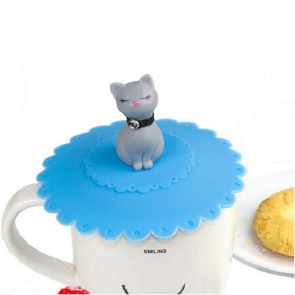 Azul Creative Tapas de la Taza de la Bebida Reutilizable Cocina T/é Hogar Anti Polvo t/é Copa PortadasOficina o de succi/ón a Prueba de Fugas MINGZE Linda Gatos Tapa de la Taza de Silicona