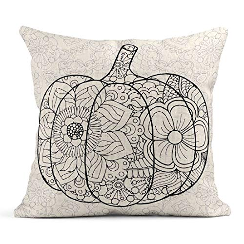 Tarolo Throw Pillow Covers Zentangle Pumpkin Black White Traditional Symbol of Thanksgiving Halloween Autumn Sketch for Colouring Page Linen Cushion Cases Home Decorative Pillowcases 18 x 18 inches