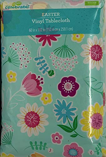 Vinyl Tablecloth 60x102 Spring Floral Theme (Spring Tablecloth Vinyl)