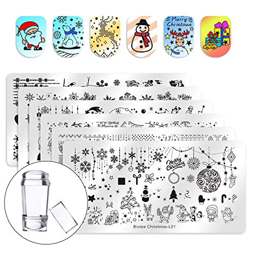 Biutee Nail Stamping Plates 6pcs Templates with Double-head stamper Christmas design Nail Art Plates -