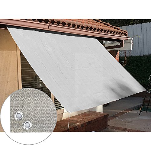 Patio Screen Panels - Alion Home Sun Shade Panel Privacy Screen with Grommets on 4 Sides for Outdoor, Patio, Awning, Window Cover, Pergola or Gazebo -200 GSM (8' x 6', Smoke Grey)